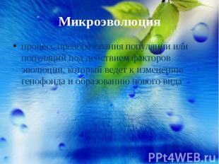Микроэволюция процесс преобразования популяции или популяций под действием факто