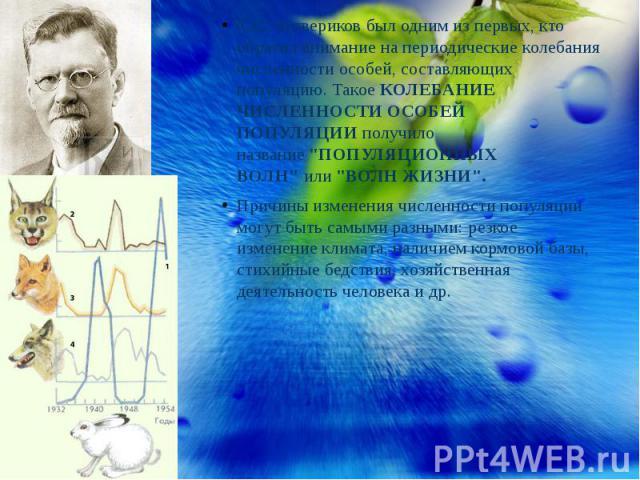 С.С. Четвериков был одним из первых, кто обратил внимание на периодические колебания численности особей, составляющих популяцию. ТакоеКОЛЕБАНИЕ ЧИСЛЕННОСТИ ОСОБЕЙ ПОПУЛЯЦИИполучило название