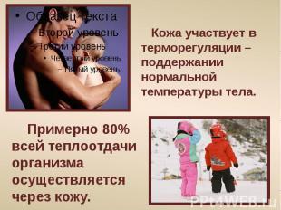 Кожа участвует в терморегуляции – поддержании нормальной температуры тела. Приме