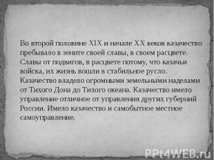 Во второй половине XIX и начале XX веков казачество пребывало в зените своей сла