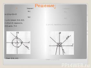 Решение: 1вариант.№1.(х-1)2+(у+3)2=25.№2.1. у=4-х прямая (0;4), (4;0);2. х2+у2=1