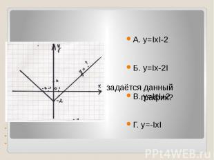 --- Каким уравнением задаётся данный график? А. у=ΙхΙ-2Б. у=Іх-2ІВ. у=ІхІ+2Г. у=