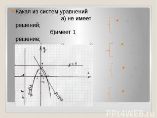 Какая из систем уравнений а) не имеет решений; б)имеет 1 решение; в) имеет 2 реш