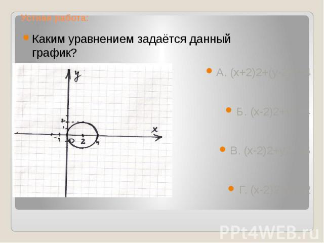Устная работа: Каким уравнением задаётся данный график? А. (х+2)2+(у-2)2=4Б. (х-2)2+у2=4В. (х-2)2+у2=16Г. (х-2)2+у2=2