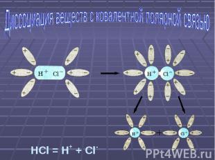 Диссоциация веществ с ковалентной полярной связью HCl = H+ + Cl-