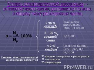Степень электролитической диссоциации – отношение числа частиц, распавшихся на и