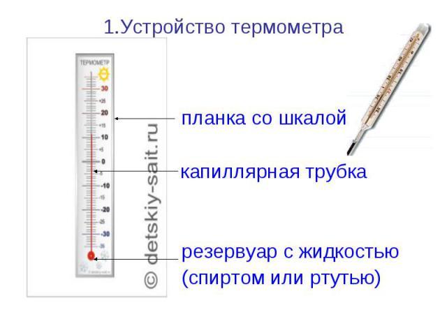 планка со шкалой……… капиллярная трубка резервуар с жидкостью (спиртом или ртутью)