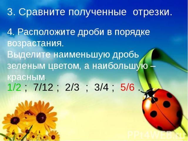 3. Сравните полученные отрезки. 4. Расположите дроби в порядке возрастания.Выделите наименьшую дробь зеленым цветом, а наибольшую – красным. 1/2 ; 7/12 ; 2/3 ; 3/4 ; 5/6 .