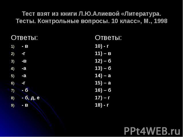 Тест взят из книги Л.Ю.Алиевой «Литература. Тесты. Контрольные вопросы. 10 класс», М., 1998 Ответы:- в-г-в-а-а-г- б- б, д, е- в Ответы:10) - г11) – в12) – б13) – б14) – а15) – а16) – б17) – г18) - г