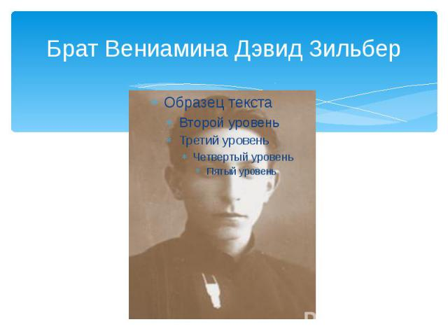 Брат Вениамина Дэвид Зильбер