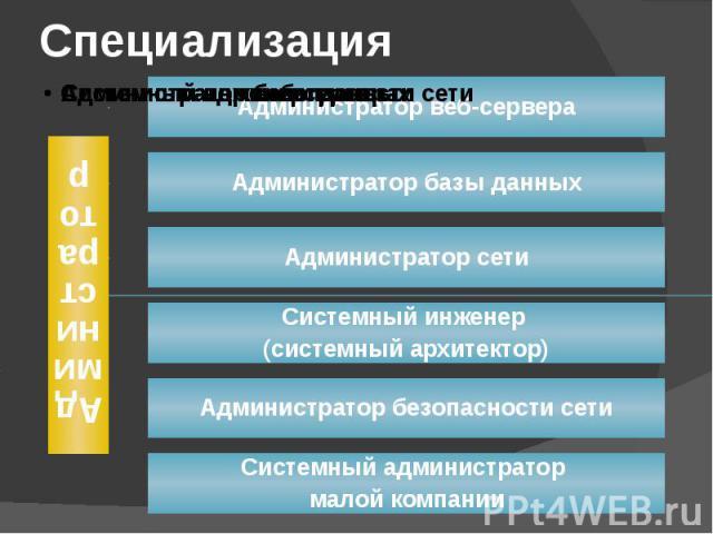 Специализация АдминистраторАдминистратор веб-сервераАдминистратор базы данныхАдминистратор сетиСистемный инженер (системный архитектор)Администратор безопасности сетиСистемный администратор малой компании