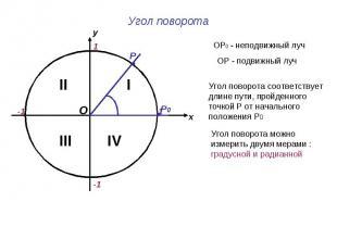 Угол поворота ОР0 - неподвижный луч ОР - подвижный луч Угол поворота соответству