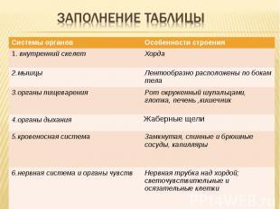 Заполнение таблицы