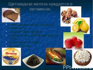 Щитовидная железа нуждается в витаминах. лимоны, яблоки, творог, темный хлеб, гр