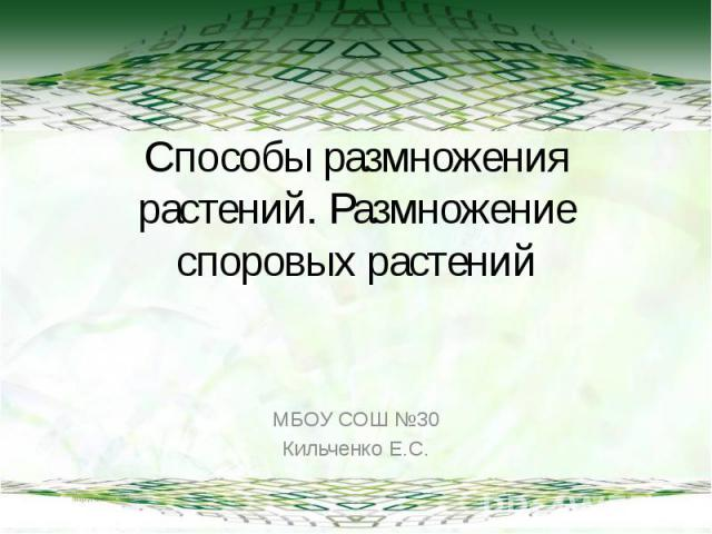 Способы размножения растений. Размножение споровых растений МБОУ СОШ №30Кильченко Е.С.