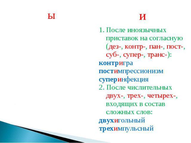 После иноязычных приставок на согласную (дез-, контр-, пан-, пост-, суб-, супер-, транс-):контриграпостимпрессионизмсуперинфекция2. После числительных двух-, трех-, четырех-, входящих в состав сложных слов:двухигольныйтрехимпульсный