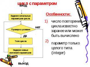 цикл с параметром число повторений цикла известно заранее или можетбыть вычислен