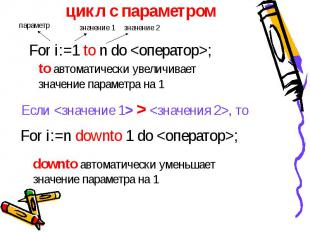 цикл с параметром For i:=1 to n do ; to автоматически увеличивает значение парам