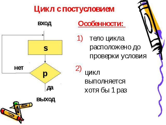 Цикл с постусловием Особенности: тело цикла расположено до проверки условия цикл выполняется хотя бы 1 раз