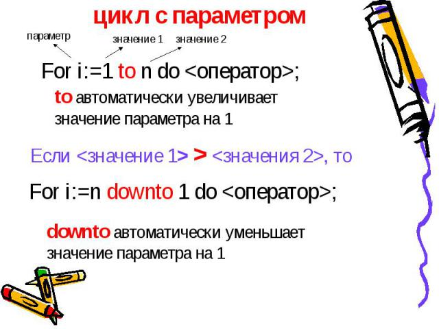 цикл с параметром For i:=1 to n do ; to автоматически увеличивает значение параметра на 1 Если > , то For i:=n downto 1 do ; downto автоматически уменьшает значение параметра на 1