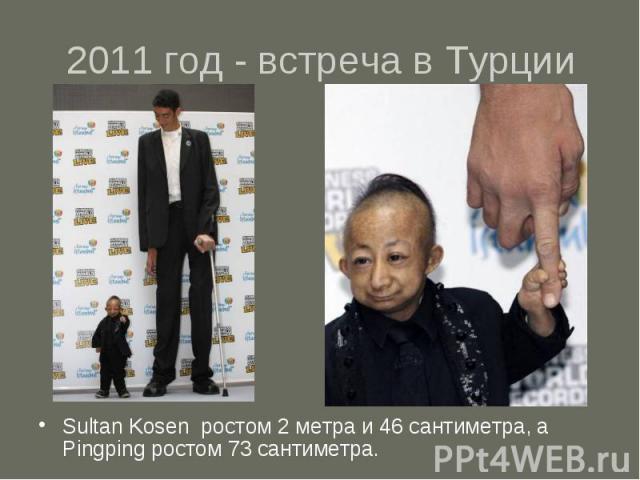 2011 год - встреча в Турции Sultan Kosen ростом 2 метра и 46 сантиметра, а Pingping ростом 73 сантиметра.