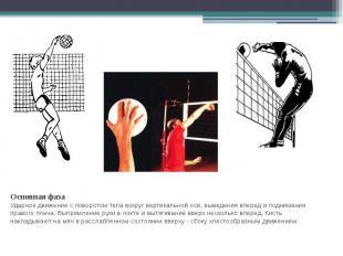 Основная фазаУдарное движение с поворотом тела вокруг вертикальной оси, выведени