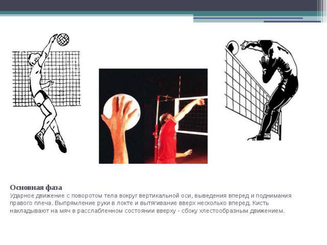 Основная фазаУдарное движение с поворотом тела вокруг вертикальной оси, выведения вперед и поднимания правого плеча. Выпрямление руки в локте и вытягивание вверх несколько вперед. Кисть накладывают на мяч в расслабленном состоянии вверху - сбоку хле…