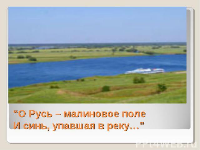 """""""О Русь – малиновое полеИ синь, упавшая в реку…"""""""