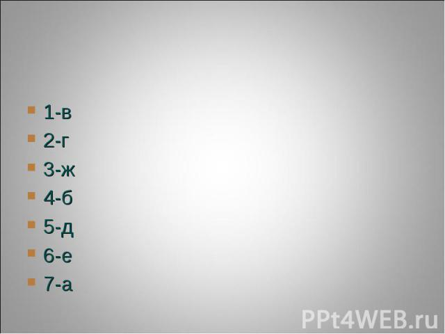 1-в2-г3-ж4-б5-д6-е7-а