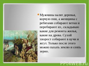 Мужчины валят деревья, корчую пни, а женщины с ребятами собирают ветки и перебир