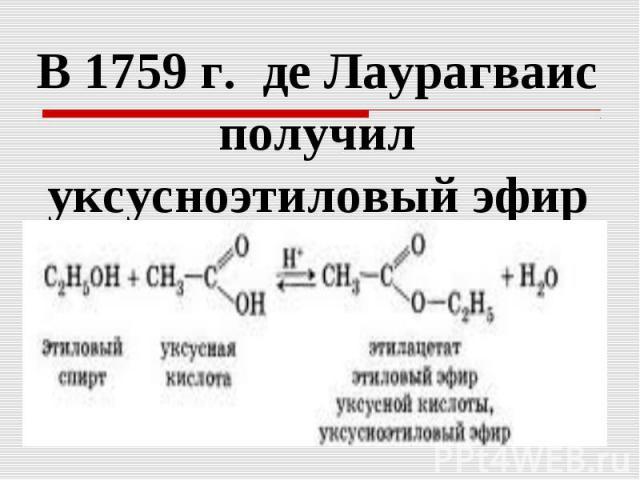 В 1759 г. де Лаурагваис получил уксусноэтиловый эфирВ 1759 г. де Лаурагваис получил уксусноэтиловый эфир