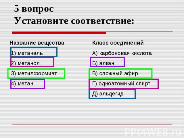 5 вопрос Установите соответствие: Название вещества 1) метаналь 2) метанол 3) метилформиат 4) метан