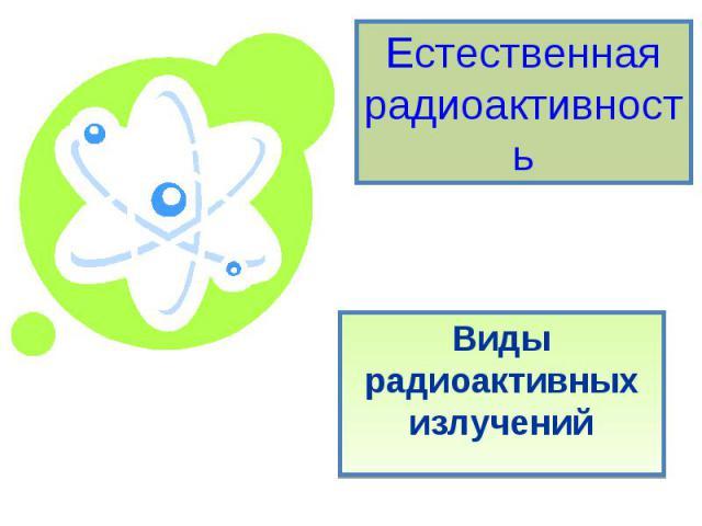 Естественная радиоактивность. Виды радиоактивных излучений