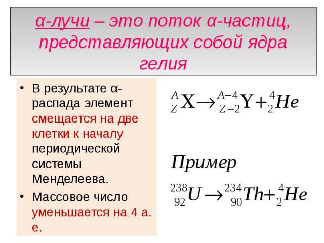 α-лучи – это поток α-частиц, представляющих собой ядра гелия В результате α-распада элемент смещается на две клетки к началу периодической системы Менделеева. Массовое число уменьшается на 4 а. е.