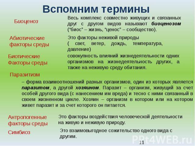 """Вспомним термины Биоценоз Абиотические факторы среды Биотические Факторы среды Весь комплекс совместно живущих и связанных друг с другом видов называют биоценозом (""""биос""""– жизнь, """"ценос""""– сообщество). Это факторы неживой природы( свет, ветер, дожд…"""