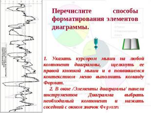 Перечислите способы форматирования элементов диаграммы. 1. Указать курсором мыши