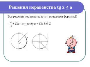 Решения неравенства tg х &lt; а Все решения неравенства tg x < a задаются формул