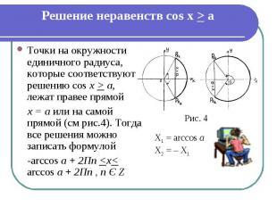 Решение неравенств cos x > a Точки на окружности единичного радиуса, которые соо