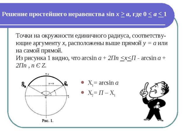 Решение простейшего неравенства sin х > а, где 0 < а < 1 Точки на окружности единичного радиуса, соответству-ющие аргументу х, расположены выше прямой y = a или на самой прямой. Из рисунка 1 видно, что arcsin а + 2Пn