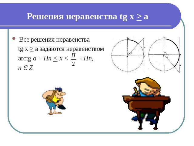 Решения неравенства tg х > а Все решения неравенства tg х > а задаются неравенством arctg a + Пn < x < + Пn, n Є Z