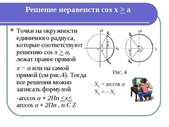 Решение неравенств cos x > a Точки на окружности единичного радиуса, которые соответствуют решению cos х > а, лежат правее прямой х = а или на самой прямой (см рис.4). Тогда все решения можно записать формулой -arccos а + 2Пn