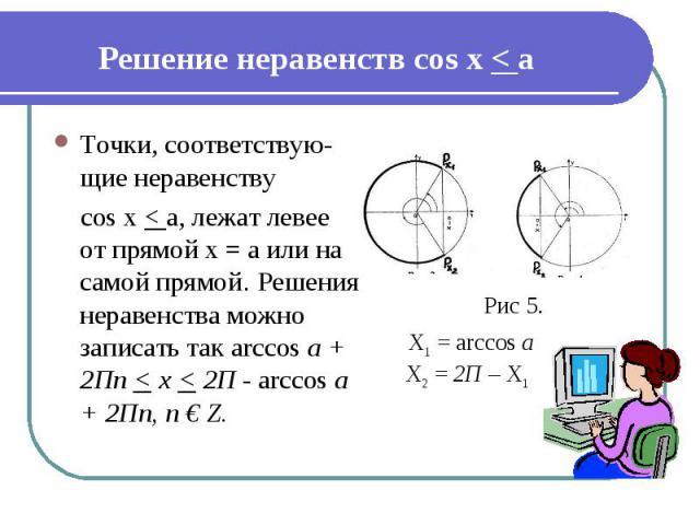 Решение неравенств cos x < а Точки, соответствую-щие неравенству cos x < а, лежат левее от прямой х = а или на самой прямой. Решения неравенства можно записать так arccos а + 2Пn < х < 2П - arccos а + 2Пn, п € Z.