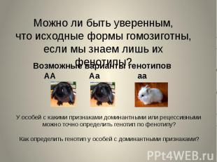 Можно ли быть уверенным, что исходные формы гомозиготны, если мы знаем лишь их ф