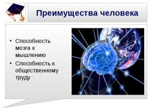 Преимущества человека Способность мозга к мышлениюСпособность к общественному тр