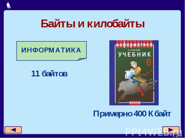 Байты и килобайты ИНФОРМАТИКА 11 байтовПримерно 400 Кбайт