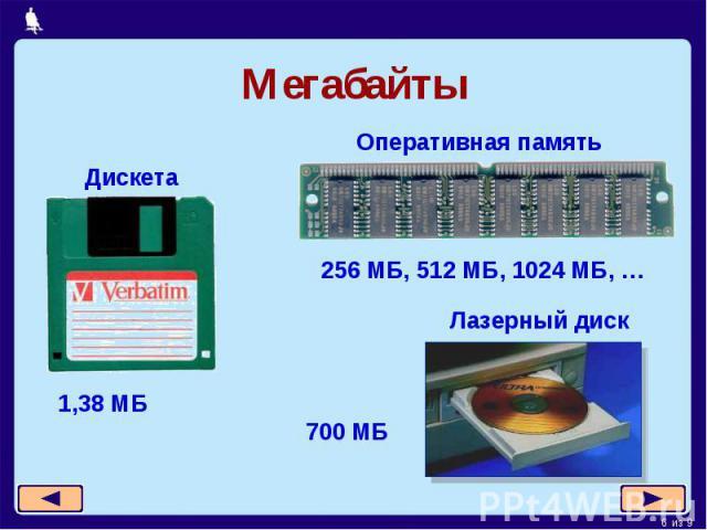 Мегабайты Оперативная память Дискета 256 МБ, 512 МБ, 1024 МБ, … Лазерный диск 700 МБ 1,38 МБ