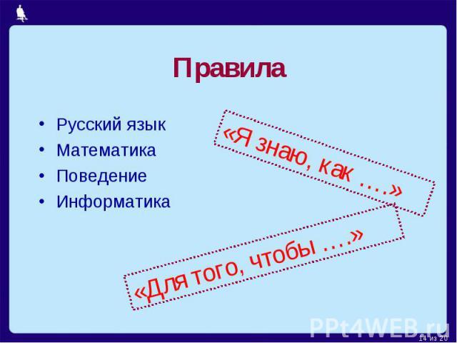 Правила Русский языкМатематикаПоведениеИнформатика «Я знаю, как ….» «Для того, чтобы ….»