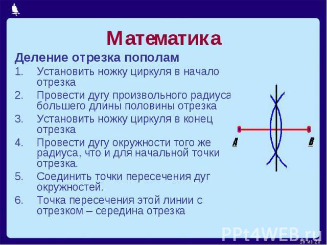 Математика Деление отрезка пополамУстановить ножку циркуля в начало отрезкаПровести дугу произвольного радиуса, большего длины половины отрезкаУстановить ножку циркуля в конец отрезкаПровести дугу окружности того же радиуса, что и для начальной точк…