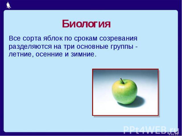 Биология Все сорта яблок по срокам созревания разделяются на три основные группы - летние, осенние и зимние.