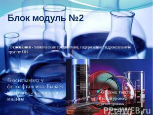 Блок модуль №2 Основания - химические соединения, содержащие гидроксильную групп